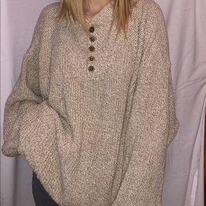 Eddie Bauer cream and tan knit sweater